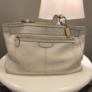 Coach White Leather Tote Bag
